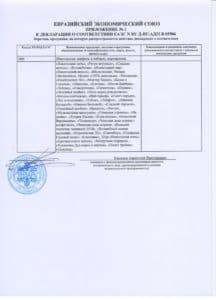 Декларация соответствия ЕАС приложение