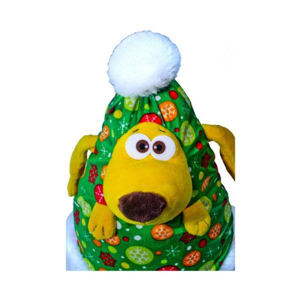 Игрушка-упаковка Игрушка конфетница Новогодний подарок Ёлка-шапка Новогодняя упаковка из текстиля Детский новогодний подарок Мягкая игрушка Собака Собачка Детский новогодний подарок