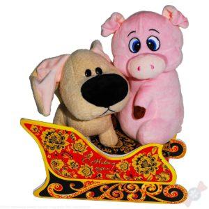 Весёлые горки комбинированный подарок с двумя мягкими игрушками