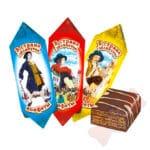 Гулливер в стране лилипутов Глазированные вафельные конфеты большого формата с шоколадной начинкой и кофейным ароматом.