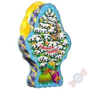 хрюня Детский новогодний подарок со сладостями в жестяной банке