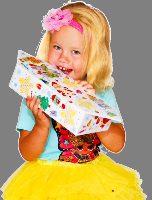 Девочка с новогодним подарком Конфета великана