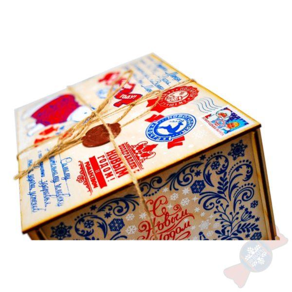 Новогодняя упаковка из дерева Посылка от Деда Мороза