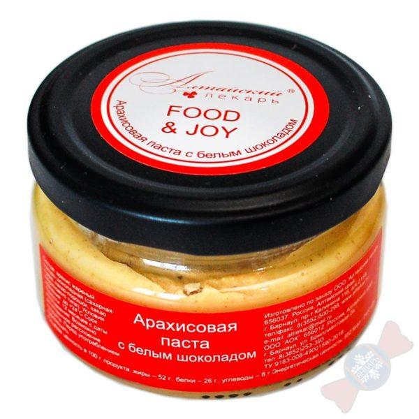 Арахисовая паста с белым шоколадом - 100гр. Состав: арахис жареный, глазурь шоколадная (сахарная пудра, какао-порошок, какао лауринового типа).
