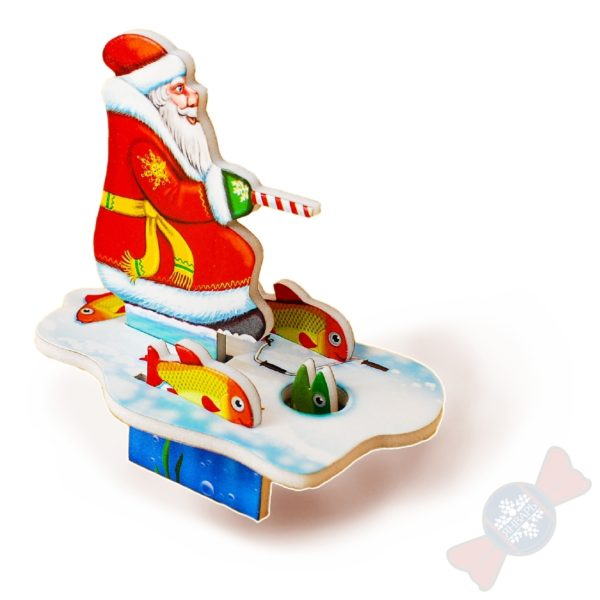 Сладкие новогодние подарки Вложение в подарок Дед Мороз на рыбалке 3D пазл